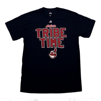 Cleveland Indians Majestic Navy Highlight Maker Slogan Tee Shirt