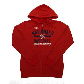 Washington Nationals Majestic Red Team Property Full Zip Fleece Hoodie (Womens L)