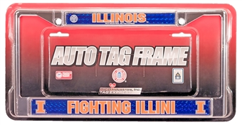 Rico Tag Illinois Fighting Illini Domed Chrome License Plate Frame