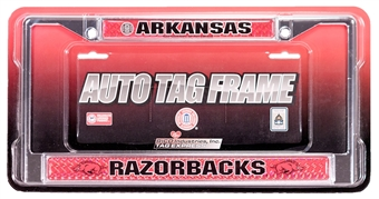 Rico Tag Arkansas Razorbacks Domed Chrome License Plate Frame