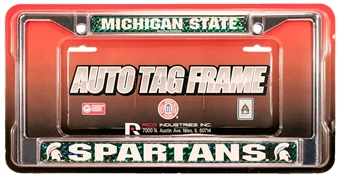 Rico Tag Michigan State Spartans Domed Chrome License Plate Frame