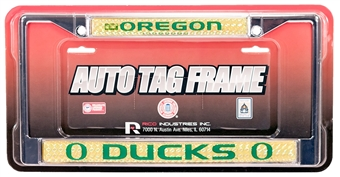 Rico Tag Oregon Ducks Domed Chrome License Plate Frame