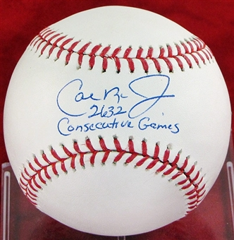 Cal Ripken Jr. Autographed Official MLB Baseball w/ Consecutive Games Insc.