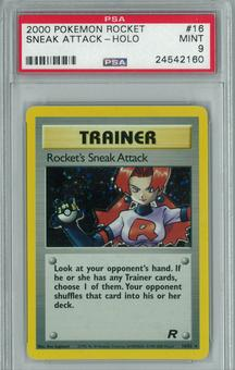 Pokemon Team Rocket Single Trainer Rocket's Sneak Attack 16/82 - PSA 9