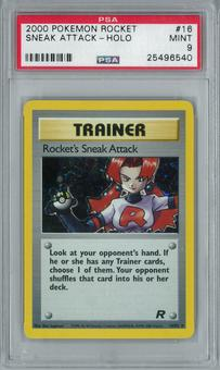 Pokemon Team Rocket Rocket's Sneak Attack 16/82 Holo Rare PSA 9