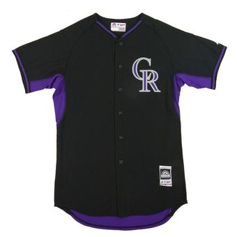 Colorado Rockies Majestic Black BP Cool Base Performance Authentic Jersey (48)