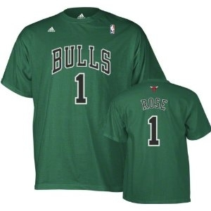Derrick Rose Chicago Bulls Green Adidas St. Patrick's Day T-Shirt (Size Medium)