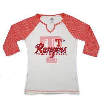 Texas Rangers Majestic Red & White Victory is Sweet 3/4 Sleeve Tee Shirt (Womens L)