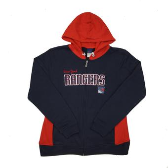 New York Rangers Reebok Navy & Red Full Zip Fleece Hoodie (Womens L)