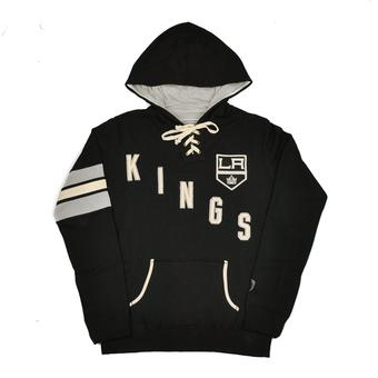 Los Angeles Kings Old Time Hockey Black Nadia Fleece Hoodie