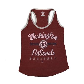 Washington Nationals Majestic Red Authentic Tradition Tank Top (Womens L)