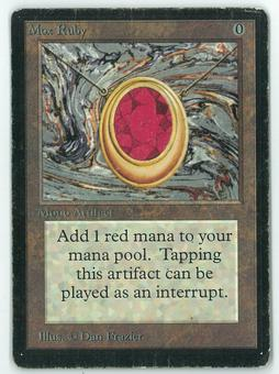 Magic the Gathering Beta Single Mox Ruby - MODERATE PLAY (MP)