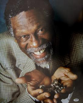 Bill Russell Autographed Boston Celtics Rings 16x20 Basketball Photo