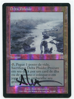 Magic the Gathering Onslaught Single Polluted Delta PORTUGUESE ARITST SIGNED FOIL - (MP)