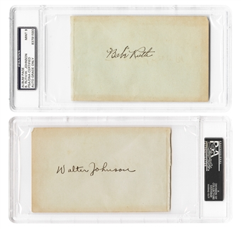 Babe Ruth & Walter Johnson Autographed *One of a Kind* Album Page PSA/DNA 9 MINT