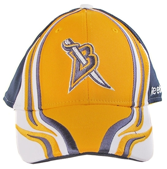 Buffalo Sabres Reebok Gold Flames Stuctured Flex Fit Hat (Adult S/M)