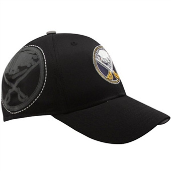 Buffalo Sabres Reebok Black Flocked Logo Flex Fit Hat (Adult L/XL)