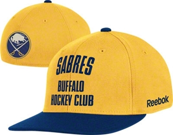Buffalo Sabres Reebok Gold Hockey Club Flat Brim Flex Hat (Adult L/XL)