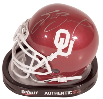 Sam Bradford Autographed Oklahoma Sooners Schutt Mini Helmet (Press Pass)