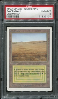 Magic the Gathering Unlimited Single Savannah - PSA Graded 8