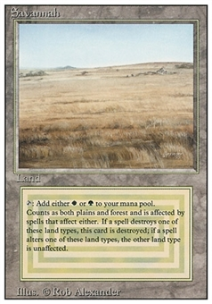 Magic the Gathering 3rd Ed (Revised) Single Savannah - SLIGHT PLAY (SP)