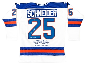 Buzz Schneider Autographed Team USA Miracle On Ice Stat Jersey w/Inscription (JSA)