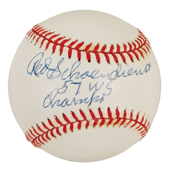 "Red Schoendienst Autographed Official MLB Baseball w/ ""57 WS Champs"" Inscription (Tristar)"