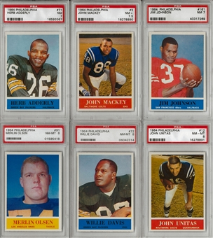1964 Philadelphia Football Complete Set Including Six PSA Graded (NM)
