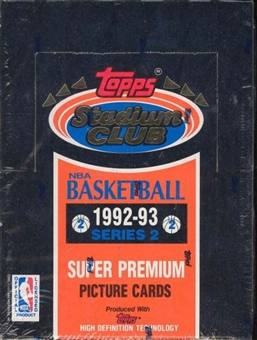 1992/93 Topps Stadium Club Series 2 Basketball Hobby Box