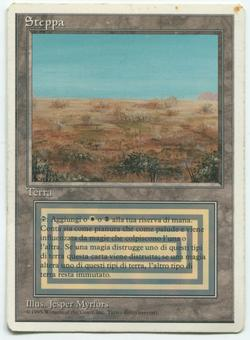 Magic the Gathering Revised Edition ITALIAN WHITE BORDER Single Scrubland - MODERATE PLAY (MP)