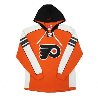 Philadelphia Flyers Reebok Orange Lace Up Fleece Jersey Hoodie (Adult S)
