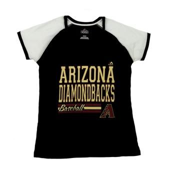 Arizona Diamondbacks Majestic Black Great Comeback V-Neck Tee Shirt (Womens L)