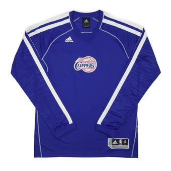 Los Angeles Clippers Adidas Blue On Court Shooter Long Sleeve Performance Tee Shirt (Adult XXL)