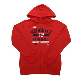 Washington Nationals Majestic Red Team Property Full Zip Fleece Hoodie