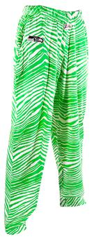 Seattle Seahawks Zubaz Neon Green and White Zebra Print Pants (Adult L)