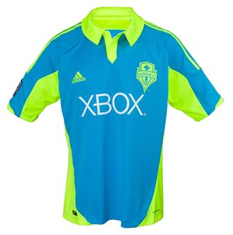 Seattle Sounders Adidas ClimaCool Cyan Replica Jersey (Adult S)