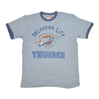 Oklahoma City Thunder Junk Food Vintage Blue Ringer Tee Shirt (Adult M)
