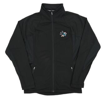 San Jose Sharks Level Wear Lunar Black Performance Track Jacket (Womens Large)