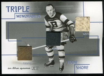 2003/04 ITG Used Signature Series Triple Memorabilia #5 Eddie Shore SP/15