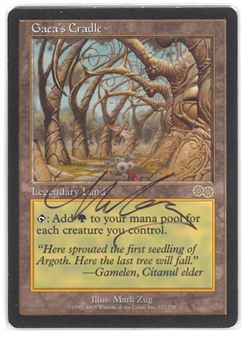 Magic the Gathering Urza's Saga Single Gaea's Cradle - ARTIST SIGNED - SLIGHT PLAY (SP)