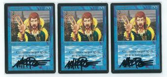 Magic the Gathering Beta 3x LOT Counterspell - NEAR MINT (NM) Artist Signed