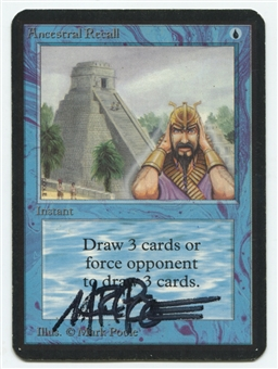Magic the Gathering Alpha Single Ancestral Recall MARK POOLE SIGNED - MODERATE PLAY (MP)