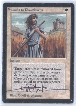 Magic the Gathering Beta Single Swords to Plowshares JEFF MENGES SIGNED - MODERATE PLAY