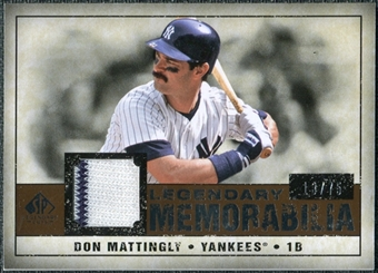 2008 Upper Deck SP Legendary Cuts Legendary Memorabilia Copper Parallel #DM2 Don Mattingly /75