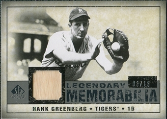 2008 Upper Deck SP Legendary Cuts Legendary Memorabilia Gray Parallel #HG Hank Greenberg /15