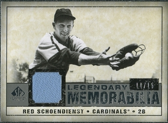 2008 Upper Deck SP Legendary Cuts Legendary Memorabilia Gray Parallel #SC Red Schoendienst /15