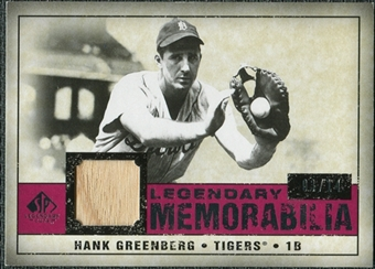 2008 Upper Deck SP Legendary Cuts Legendary Memorabilia Red #HG Hank Greenberg /14