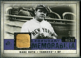 2008 Upper Deck SP Legendary Cuts Legendary Memorabilia Violet Parallel #BR Babe Ruth 8/20
