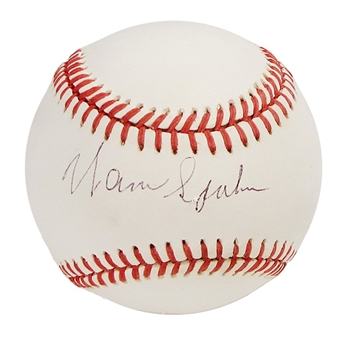 Warren Spahn Autographed Official National League Baseball (GAI COA)