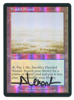 Magic the Gathering Onslaught Single Flooded Strand ARTIST SIGNED FOIL - SLIGHT PLAY